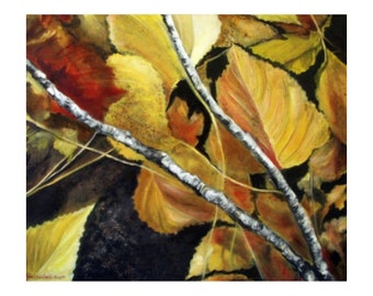 Giclée Print | Golden Leaves in a Golden Wood | Limited-edition | Signed Original Fine Art | Wall Décor