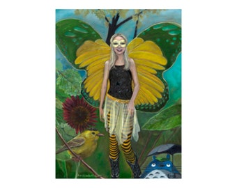 Oil Painting on Canvas | Butterfly Princess | Signed Original Fine Art | Museum Quality | Wall Décor