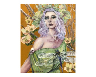 Oil Painting on Canvas | Green Fairy | Signed Original Fine Art | Museum Quality | Wall Décor
