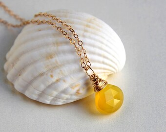 Canary yellow chalcedony wire wrapped briolette pendant necklace sterling silver or gold filled