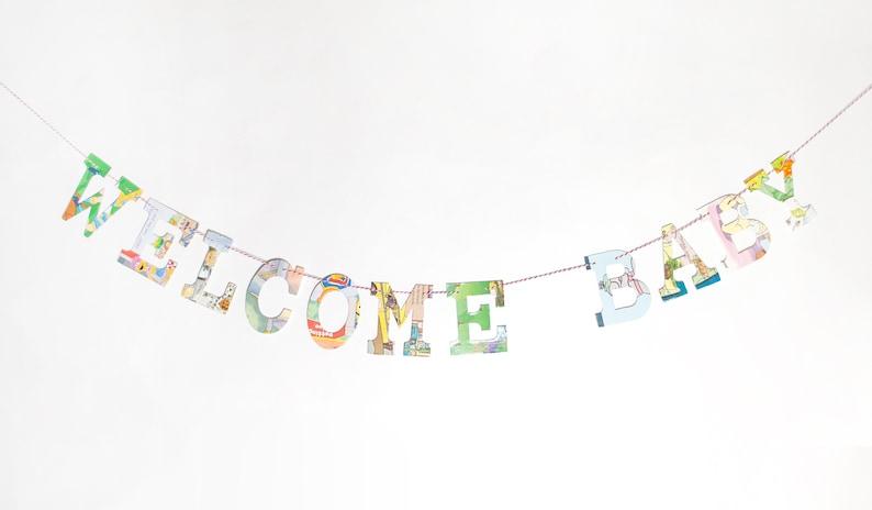 WELCOME BABY Board Book Shower Garland Kit Nursery Gender Reveal Celebration