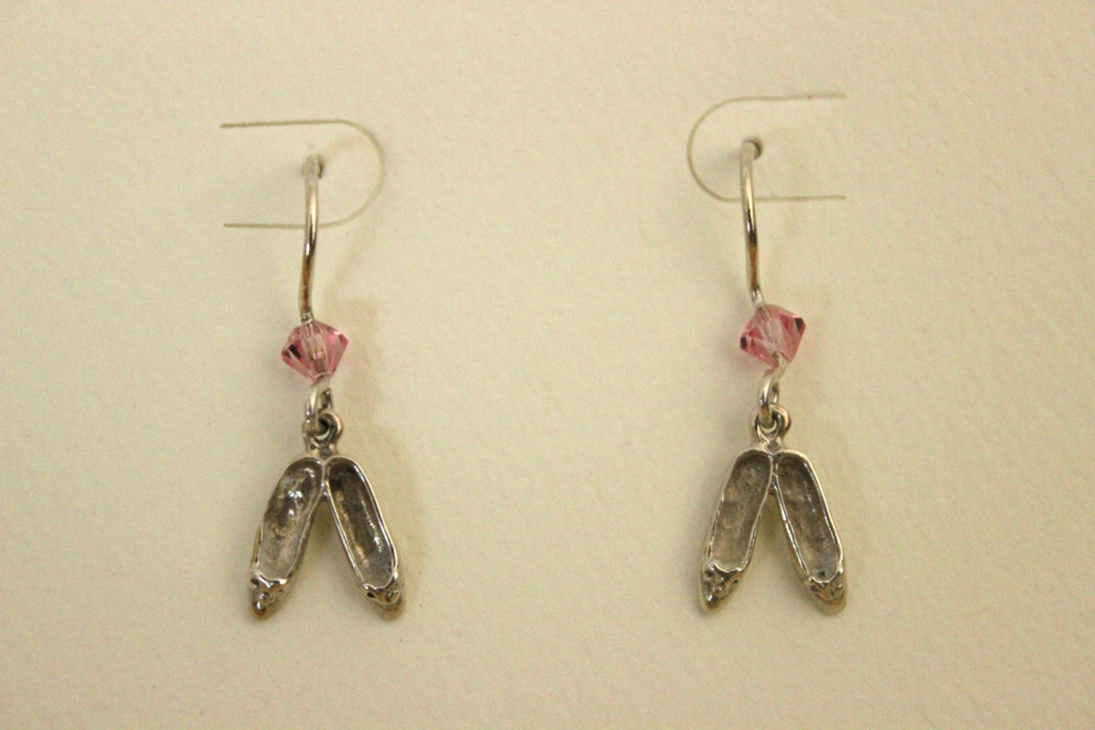 sterling silver ballet shoes dangle pierced earrings with pink swarovski crystal beads
