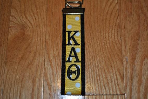 44f147a457 Kappa Alpha Theta Sorority keychain-Black Webbing w Gold White