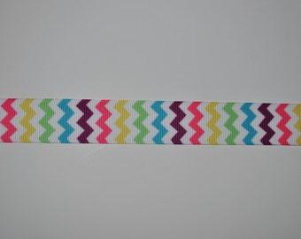 "Chevron Multi Colored Grosgrain Ribbon, 7/8"", 5 yards"