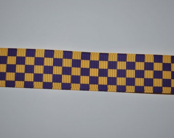 """Gold and Purple Checkerboard Grosgrain Ribbon, 7/8"""", 5 yards"""