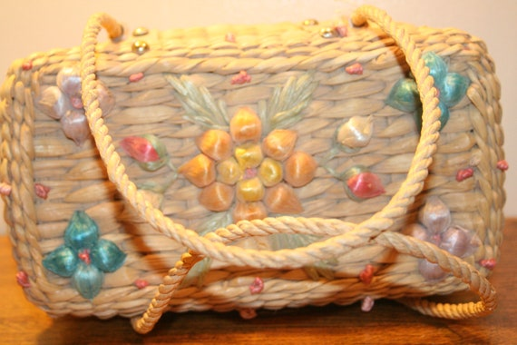 COLORFUL WICKER PURSE,70s purse,70s wicker purse,… - image 4