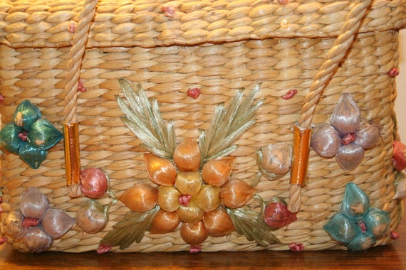 COLORFUL WICKER PURSE,70s purse,70s wicker purse,… - image 3