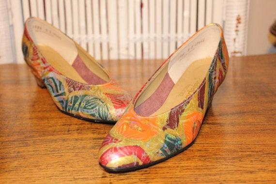 Size 8,RETRO COLORFUL PUMPS,rocker heels,pumps 8,c