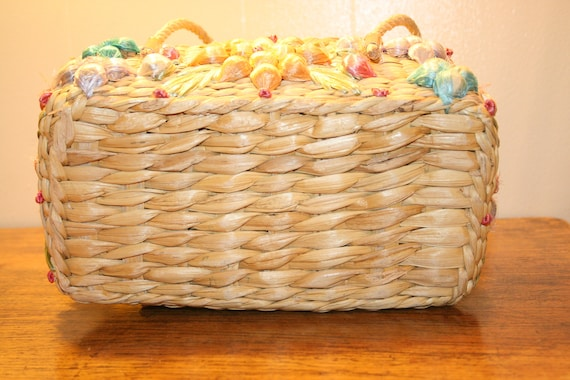 COLORFUL WICKER PURSE,70s purse,70s wicker purse,… - image 10