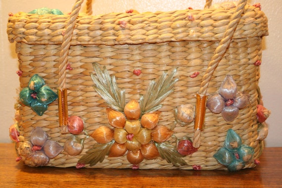 COLORFUL WICKER PURSE,70s purse,70s wicker purse,… - image 1