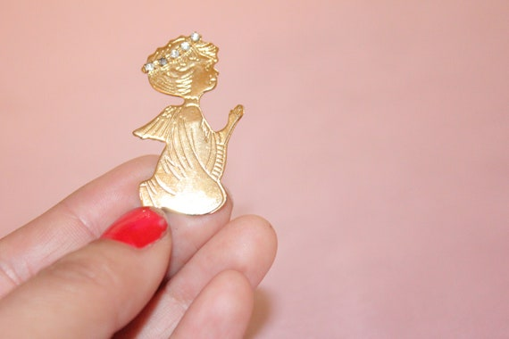 Two Xmas Angel Brooch Pins Clasps work fine VG Preowned shape