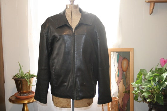 ROCKER LEATHER COAT,zipper leather jacket,black le