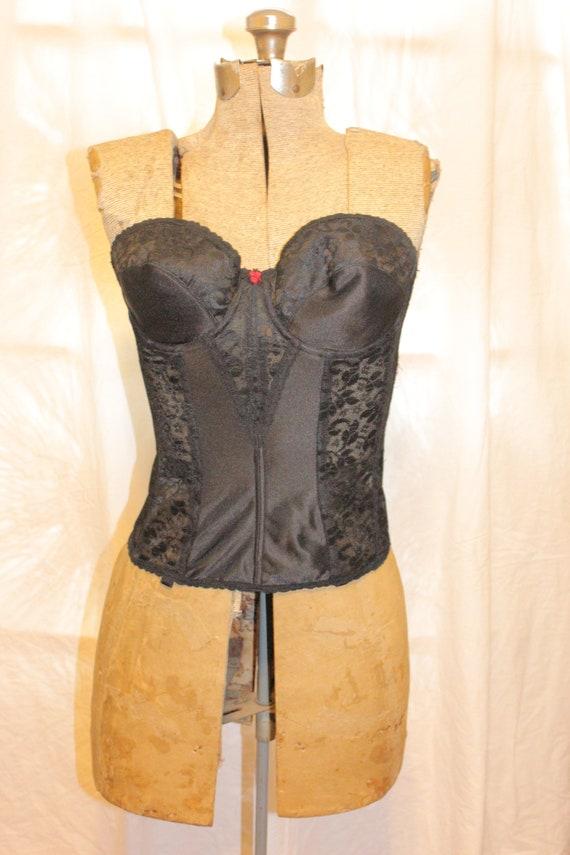 VINTAGE LACE CORSET Tops,black vintage corset top… - image 2