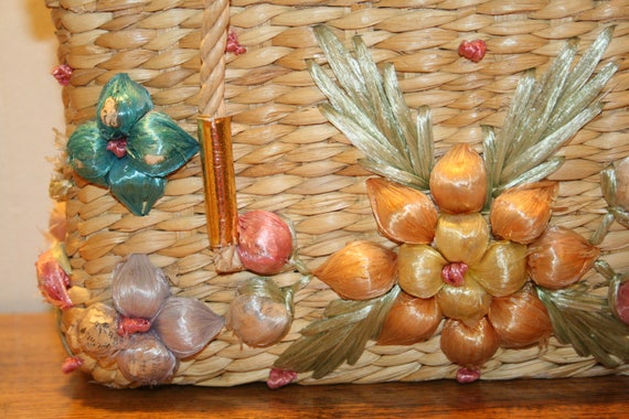 COLORFUL WICKER PURSE,70s purse,70s wicker purse,… - image 8