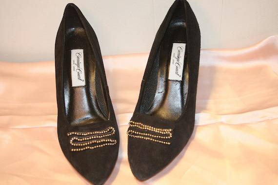 Size 8.5,ROCKER SUEDE PUMPS,leather heels,heels 8.