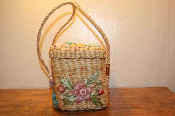 COLORFUL WICKER PURSE,70s purse,70s wicker purse,… - image 5