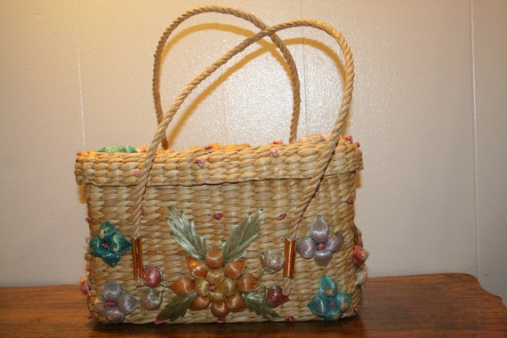 COLORFUL WICKER PURSE,70s purse,70s wicker purse,… - image 2