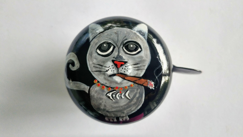 Cat Bicycle Bell Blunt Cigar Painted Art Bike Accessories
