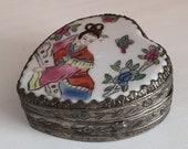 Japanese Enamel Porcelain Box, Heart Shaped Trinket Box, Geisha, Silver Vintage Collectible