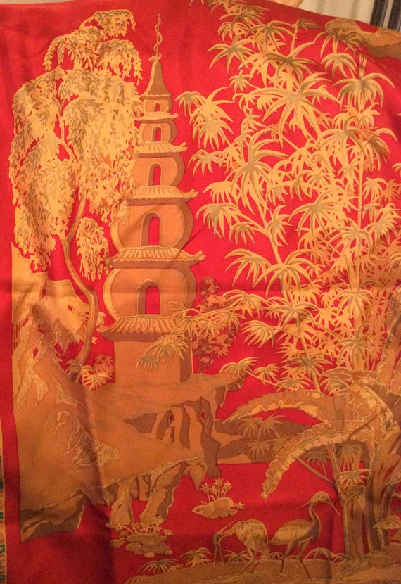 ae7e2f82b4 NOW SOLD Beckford Silk Scarf Japanese Theme Birds Red Gold
