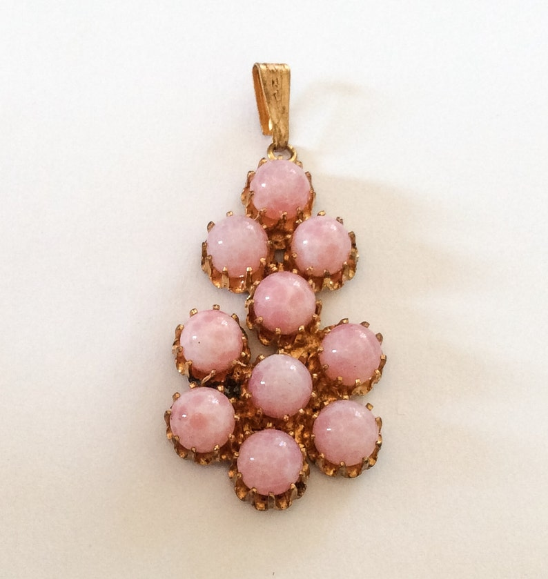 Art Deco Vintage Jewelry Cupcake Settings Pink Cabochon Pendant