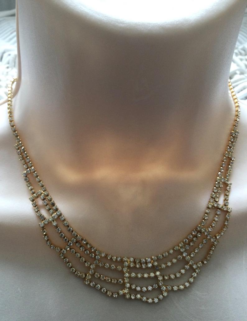 French vintage jewel silver with transparent rhinestones 1960s vintage rhinestone necklace