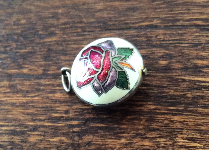 Rose Charm or Pendant Vintage Jewelry Cloisonn\u00e9 Enamel