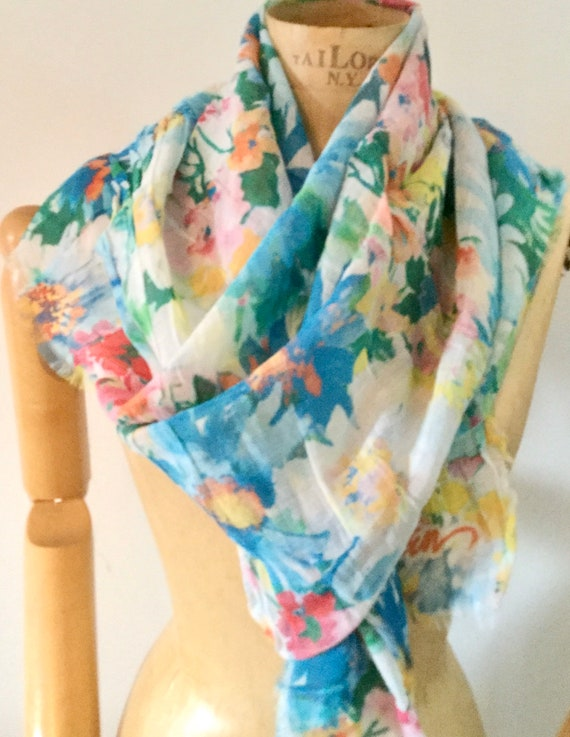 Large Designer Floral Scarf Wrap in Silk blend Pink Blue Turquoise