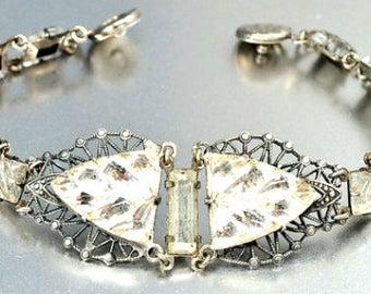 Vauxhall Glass Bracelet, Art Deco, 1920s Vintage Jewelry, SPRING SALE
