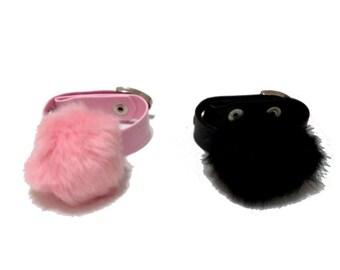 Lenitate Cuffs. Pom Pom Bracelet. Pink and Black Pom Pom Bracelets.