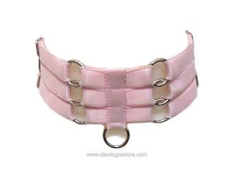Cygnus Choker. Pastel Pink Satin Collar.