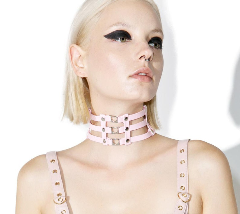 Cage Heart Choker. Pink Leather Collar image 0