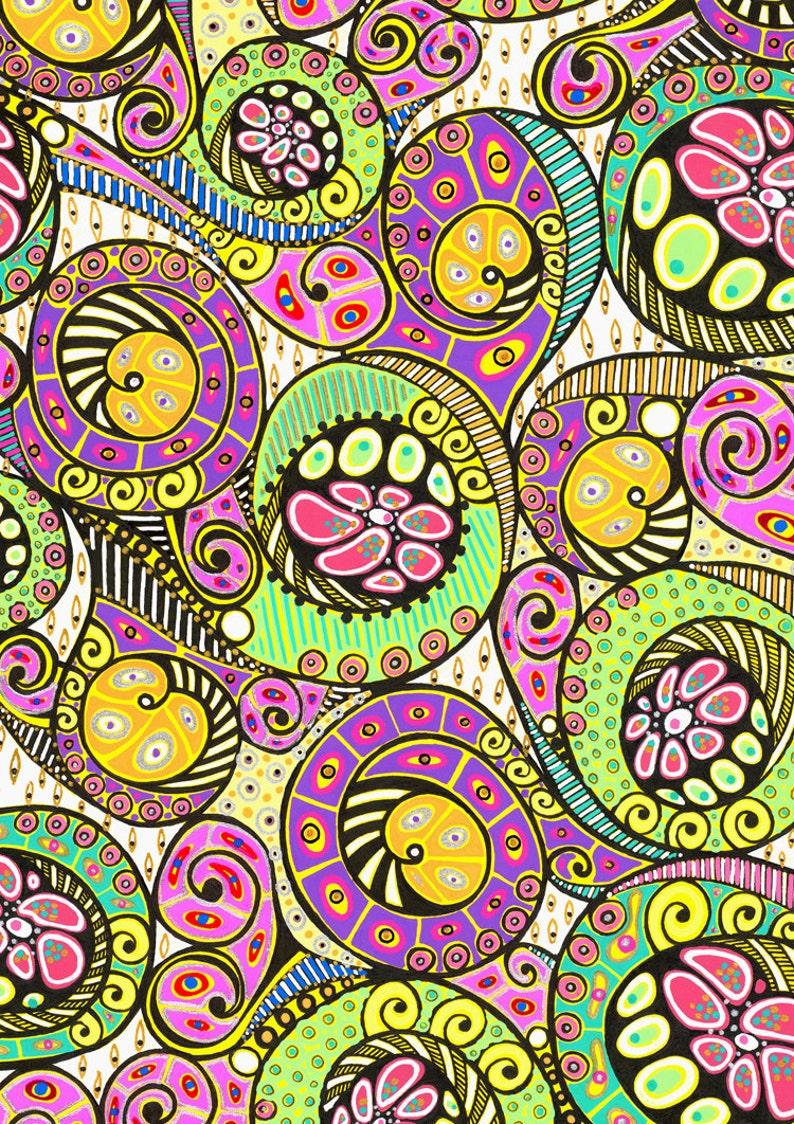 Reticolo Stilizzato Floreale Turbinii Arte Originale Disegno Etsy