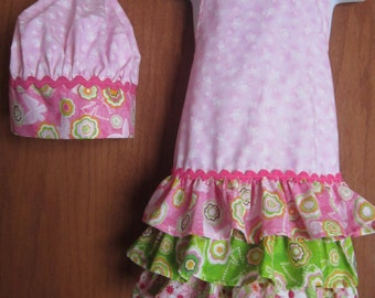Apron and chef hat set pink butterflies with ruffles - Kids Childs