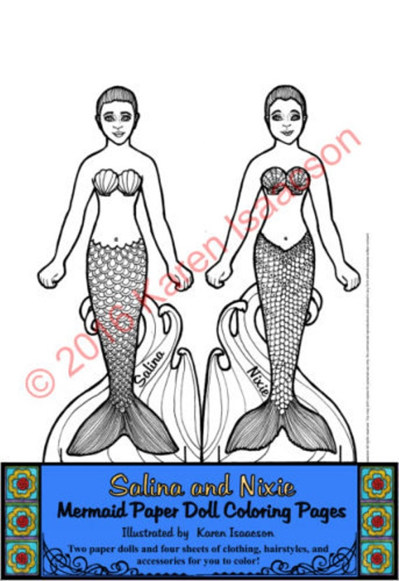 Salina y Nixie Mermaid muñeca de papel para colorear páginas | Etsy