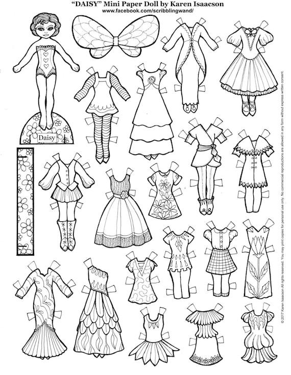 DAISY Mini muñeca de papel para colorear página de Karen | Etsy