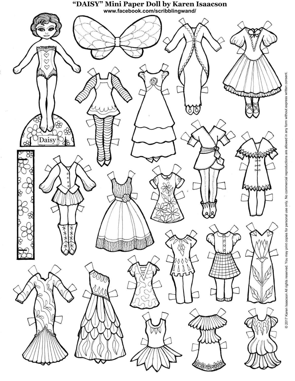 DAISY Mini muñeca de papel para colorear página de Karen