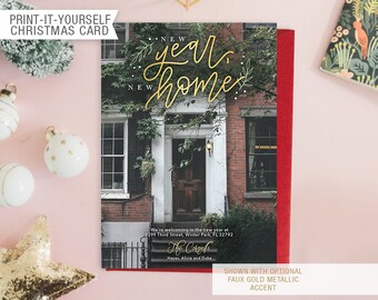 Printable Photo We've Moved Christmas Card - New Year New Home