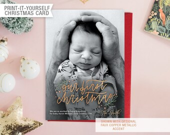 Printable Photo New Baby Christmas Card - Our First Christmas