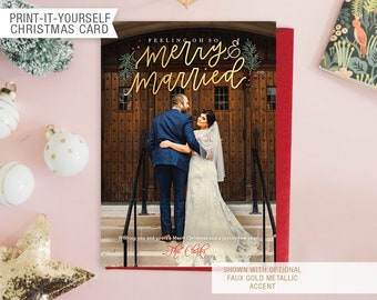 Printable Photo Just Married Christmas Card - Oh So Merry & Married
