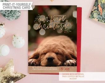 Printable Photo Pet Christmas Card - Our First Christmas