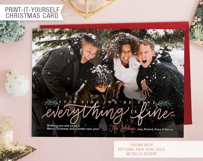 Featured listing image: Printable Photo Christmas Card - Everything Is Fine