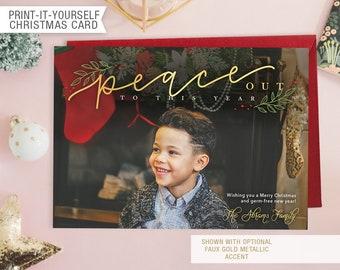 Printable Photo Christmas Card - Peace Out