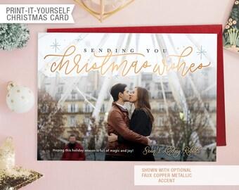 Printable Photo Christmas Card - Christmas Wishes