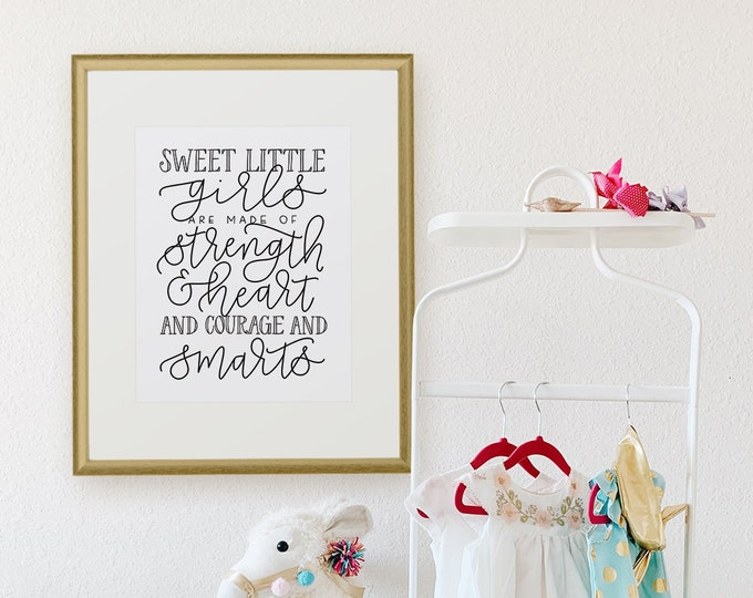 Featured listing image: Girls Nursery Quote, Girls Room Decor, Wall Art Prints, Girls Room Print, Girls Room Art - Wall Art, Nursery Decor, Girls Are Made Of