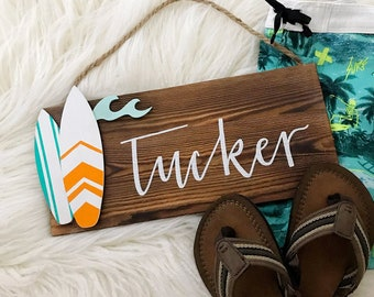 Boys Surfboard Name Sign