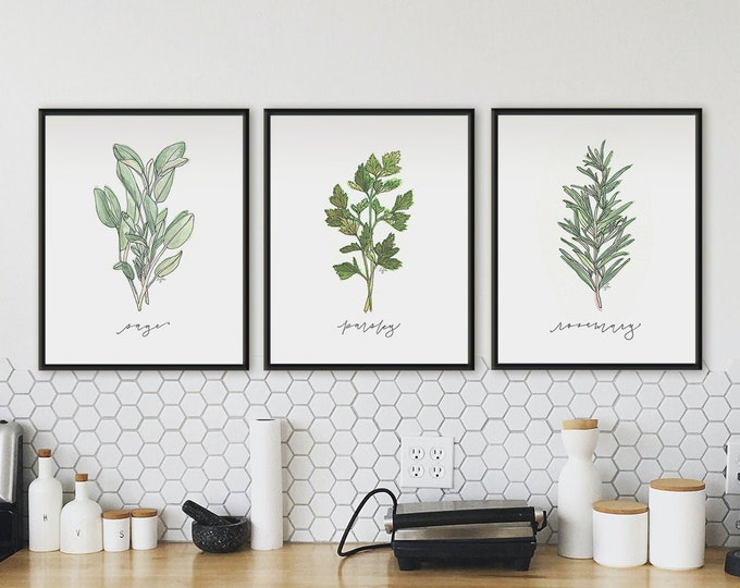 Featured listing image: Set of 3 Herb Prints
