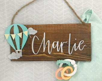 Hot Air Balloon Baby Name Sign