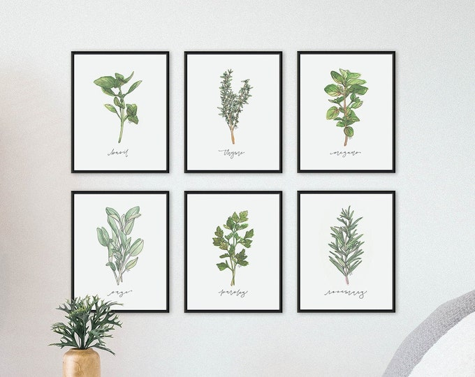 Featured listing image: Set of 6 Herb Prints