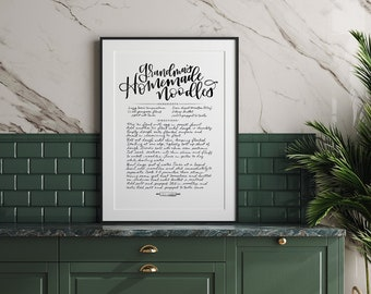 Handwritten Recipe Print